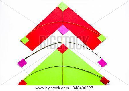 Handmade Kites Isolated On White Background. Makar Sankranti Festival Concept