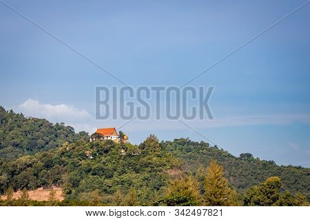 Wat Si Rea Monastery On Top Of A Hill In Phuket Thailand.