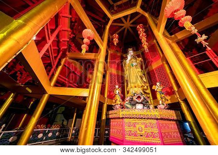 Kuan In, The Bodhisattva Of Compassion And Mercy, Shrine At Tiger Cave Temple In Krabi Town, Thailan