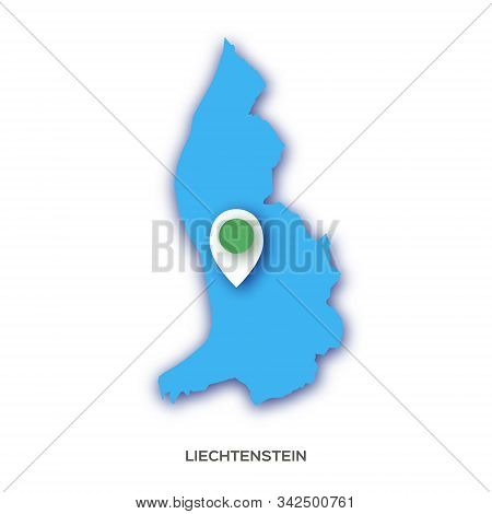 Liechtenstein Map Silhouette In Paper Cut Style On White Background. Country In Europe.