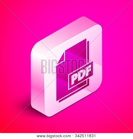 Isometric Pdf File Document. Download Pdf Button Icon Isolated On Pink Background. Pdf File Symbol.