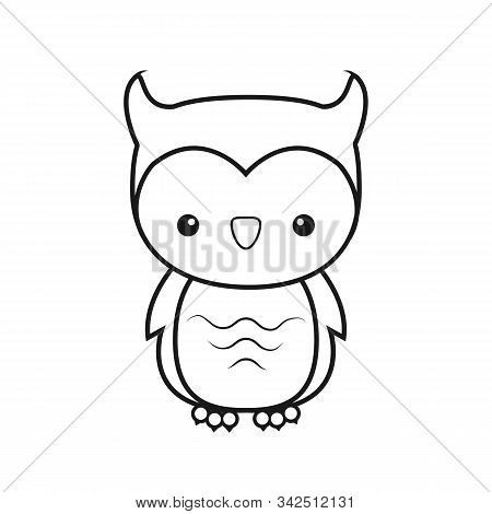 Empty Outline Of A Cute Childish Cartoon Owl. Isolated Contour For Coloring. Stock Vector Illustrati