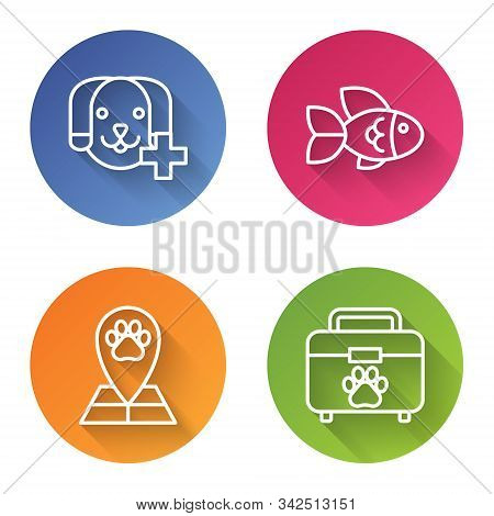 Set Line Veterinary Clinic Symbol, Fish, Map Pointer With Veterinary Medicine Hospital And Pet First