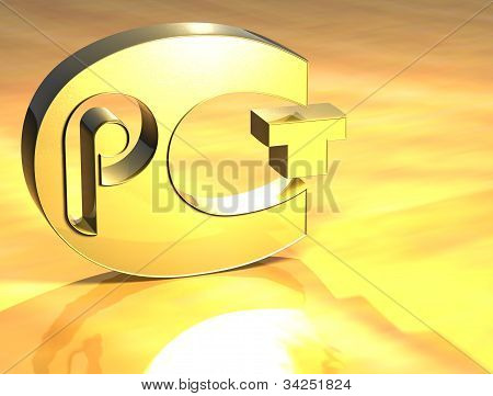 3D Certificat Pct Gold Sign
