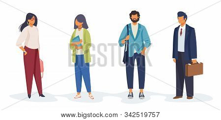 Set Of Diverse People Holding Papers, Bags. Occupations, Professionals, Colleagues. Flat Vector Illu
