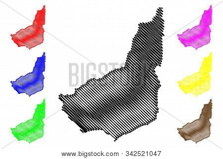 Maldonado Department (departments Of Uruguay, Oriental Republic Of Uruguay) Map Vector Illustration,