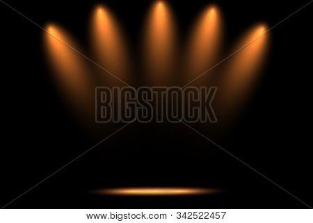 Studio Dark Room Of Orange Stage With Spot Lighting In Black Background.