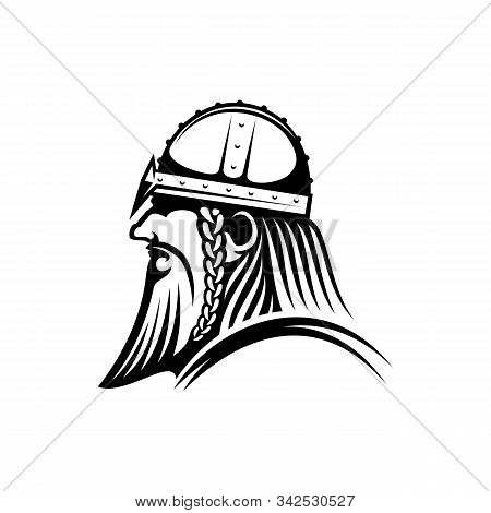 Bearded Viking Isolated Warrior Head Profile. Vector Medieval Conquest, Barbarian Aggressor Mascot