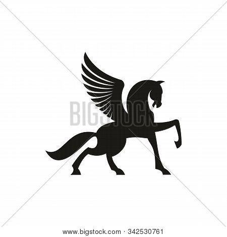 Winged Horse Silhouette Isolated Pegasus Silhouette. Vector Unicorn Heraldic Symbol, Mythical Animal