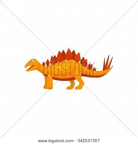 Stegosaurus Isolated Cartoon Triceraptor Graze. Vector Orange Spinosaurus Prehistoric Predator Anima