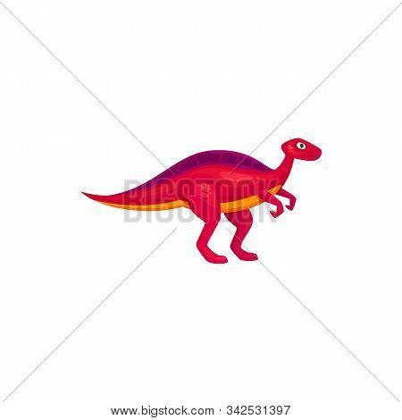Pink Dinosaur T-rex Isolated Raptor. Vector Prehistoric Animal, Cartoon Dino Mascot