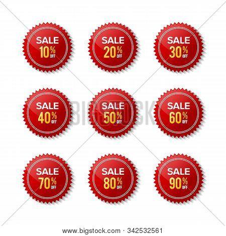 Red Sticker Discount Sale Off. Red Label. Designs For Retail, Special Offer, Mega Sale, Big Sale, Ho