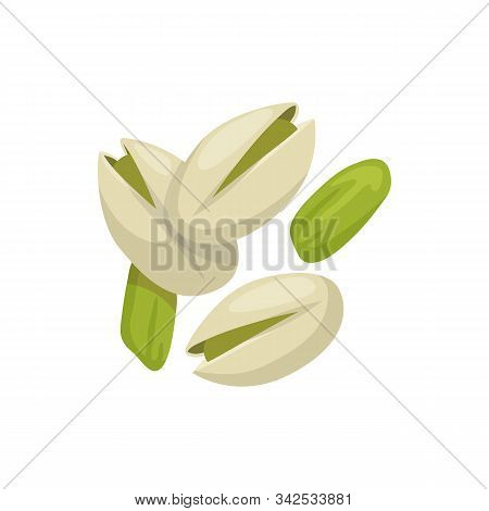 Pistachio Nuts Peeled And In Shell Isolated Food Snack. Vector Vegetarian Natural Roasted Pistache