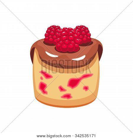 Panna Cotta Strawberry Pudding Isolated. Vector Italian Dessert, Raspberry Berries And Chocolate