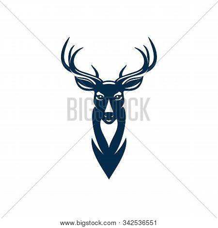 Wild Elk Or Deer With Antlers Isolated Head Mascot. Vector Horned Animal, Reindeer Hunting Sport Emb
