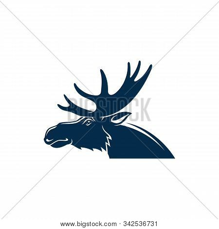 Moose Or Wild Elk Isolated Deer Head With Antlers. Vector Stag Hunting Sport Mascot