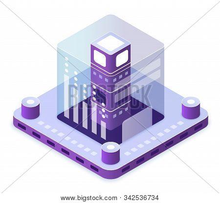 Blockchain Technology Isometric Vector Illustration. Innovative Electronic Computer Tech. Database F