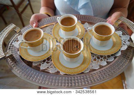 Turkish Coffee Service. Victim(sacrifice) And Ramadan Feast Visit. Visit To Neighbor, Hospitality