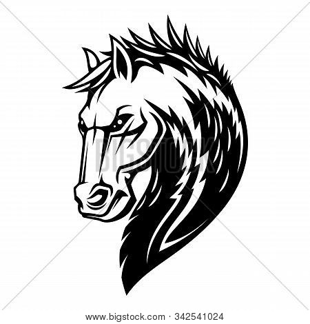 Heraldic Horse Head And Mane Icon. Vector Royal Equine Heraldry Symbol Of Pegasus Stallion Horse