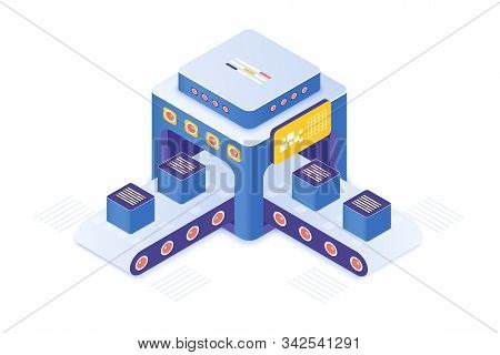 Cryptocurrency Market Place Isometric Vector Illustration. Innovative Technology For Product Distrib