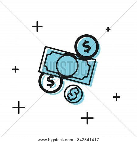 Black Stacks Paper Money Cash And Coin Money With Dollar Symbol Icon Isolated On White Background. M