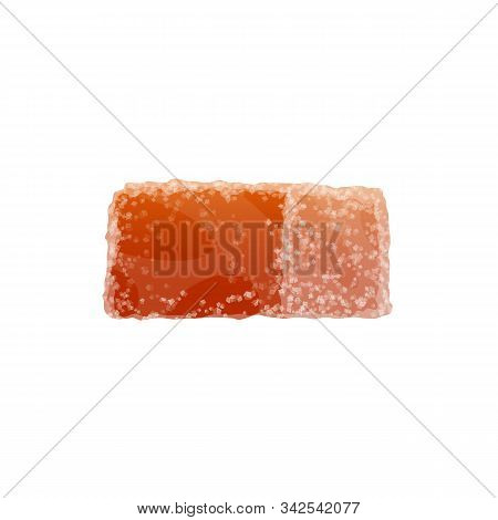 Gummy Candy Isolated Marmalade. Vector Orange Taste Fruit Jelly With Sugar Sprinkles