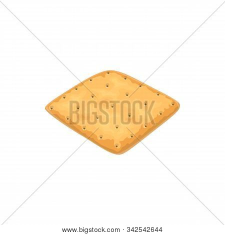 Square Cracker Isolated Wholemeal Oat Biscuit. Vector Wheat Salty Cookie, Pastry Food
