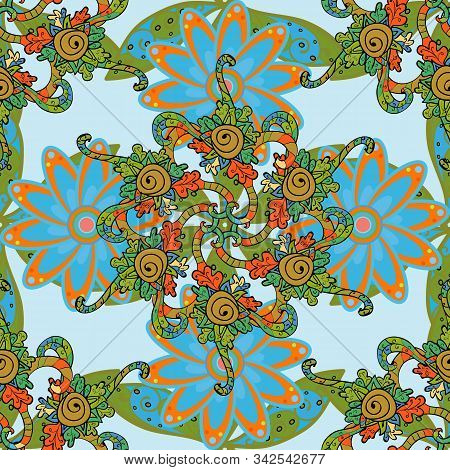 Doodles Neutral, Green And Blue On Colors. Seamless Pattern Sketch Cute Background. Nice Pattern For