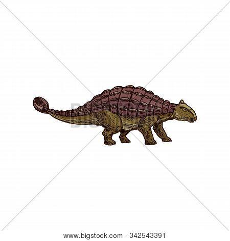 Spinosaurus Isolated Prehistoric Dino. Vector Animal Of Jurassic Period, Ankylosaurus Dinosaur Sketc