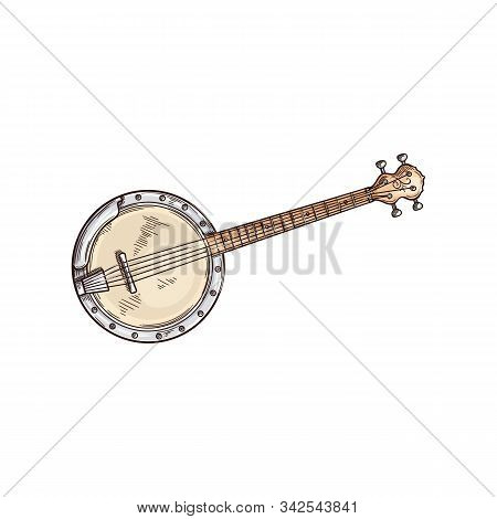American Banjo Isolated Retro Musical Instrument. Vector Four String Banjo Guitar, Chordal Accompani
