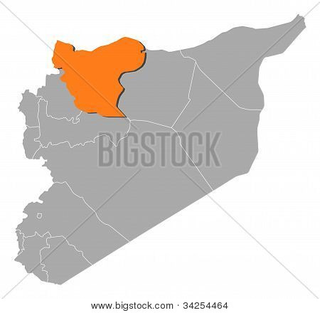Map Of Syria, Aleppo Highlighted