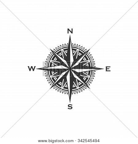 Compass Symbol And Sign, Isolated Vector Marine Navigation Element. Rose Of Wind Heraldic Monochrome