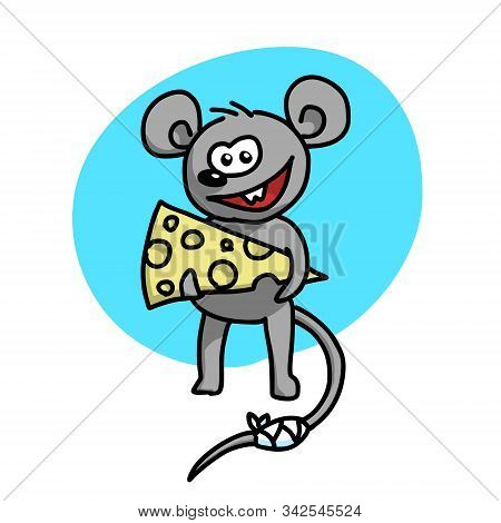 Sly Mouse With A Piece Of Cheese.