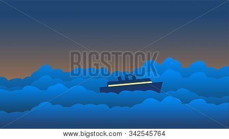 The Ship Sails Through The Big Waves.
