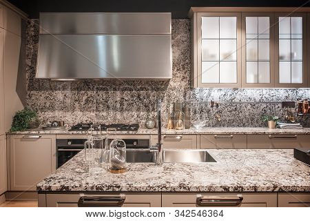 Kitchen Interior, Modern Kitchen With A Luxury Mixer, Breakfast Concept, Kitchen Background, Concept