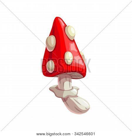 Amanita Mushroom Cartoon Icon. Vector Isolated Poisonous Toadstool Amanita, Halloween Witch Potion M