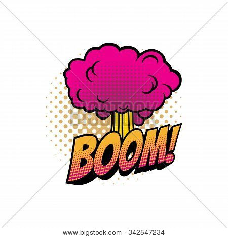 Boom Comic Sound Blast, Bubble Chat Cartoon Icon. Vector Boom Explosion Cloud, Superhero Comic Book