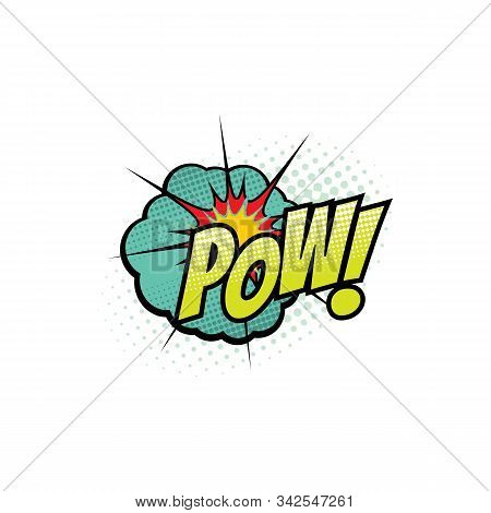 Comic Book Sound Blast, Pow Bubble Cartoon Halftone Icon. Vector Pow Sound Blast Explosion Pop And B