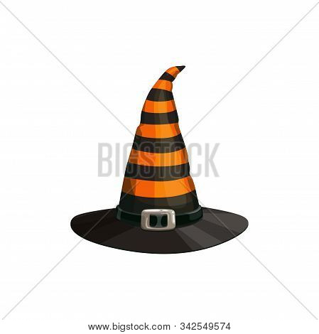 Halloween Headdress, Striped Witch Hat With Buckle Isolated. Vector Cartoon Headdress, Wizard Or Wit