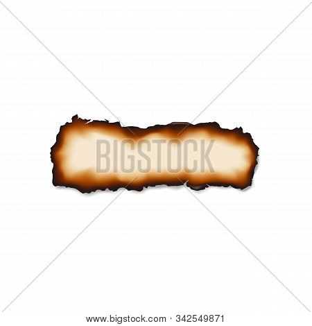 Damaged Piece Of Paper Isolated Burnt Sheet. Vector Scorched Parchment, Document Scraps Destroyed By