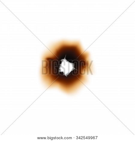 Burnt Hole In Sheet Of Paper Isolated Damaged By Fire Surface. Vector Torn Page With Brown Ash