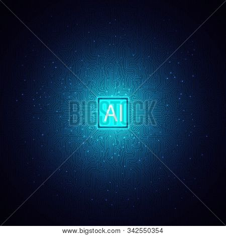 Blue Artificial Intelligence Chipset On Circuit Board,ai Brain Technology Background,data Analysis A