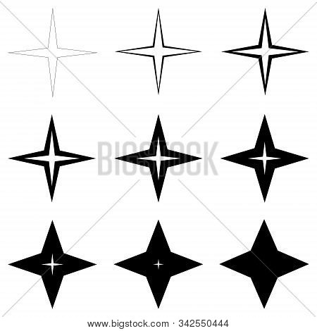 Set Stars With Different Thickness Of Outline Shapes, Vector Thin And Thick Stars, Glitter Flash