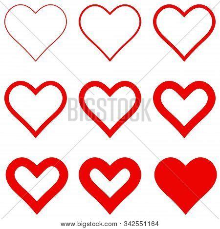 Set Red Hearts With Different Stroke Thickness, Vector Icon Logo Thin And Thick Hearts Sign Love Sym