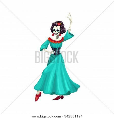 Woman Skeleton In Blue Dress With Roses Isolated Dancer. Vector Catrina Calavera Skull, Day Of Dead
