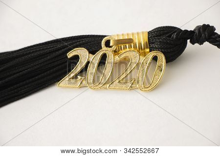 2020 Graduation Tassel Close Up With Nobody On White Background.
