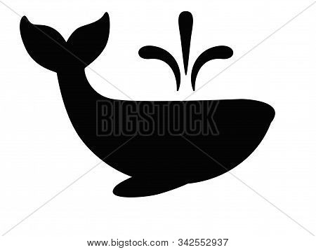 A Whale Is A Marine Animal. Silhouette Of A Whale With A Fountain From The Back For An Icon Or Logo.