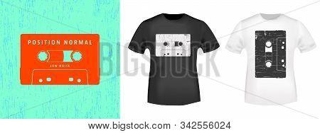 Compact Cassette Retro T-shirt Print Stamp For Tee, T Shirts Applique, Vintage Fashion, Badge, Label