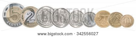 A Complete Set Of Polish Coins Stand In A Row One After Another. Isolated Over White Background.
