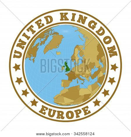 United Kingdom Logo. Round Badge Of Country With Map Of United Kingdom In World Context. Country Sti